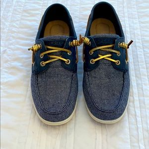 Navy and gold Sperry boat shoes